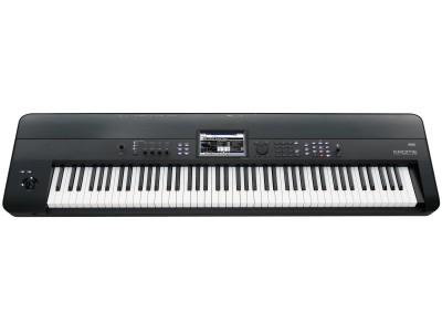 KORG Krome-88, клавишная станция, 88 молоточковых клавиш, система синтеза EDS-X (Enhanced Definition Synthesis-eXpanded), макс пол-ния 120, 3,8 ГБ PCM-память, 1077 мультисэмплов, 1609 сэмплов ударных, 16-трековый MIDI-секвенсор + 1 мастер-трек